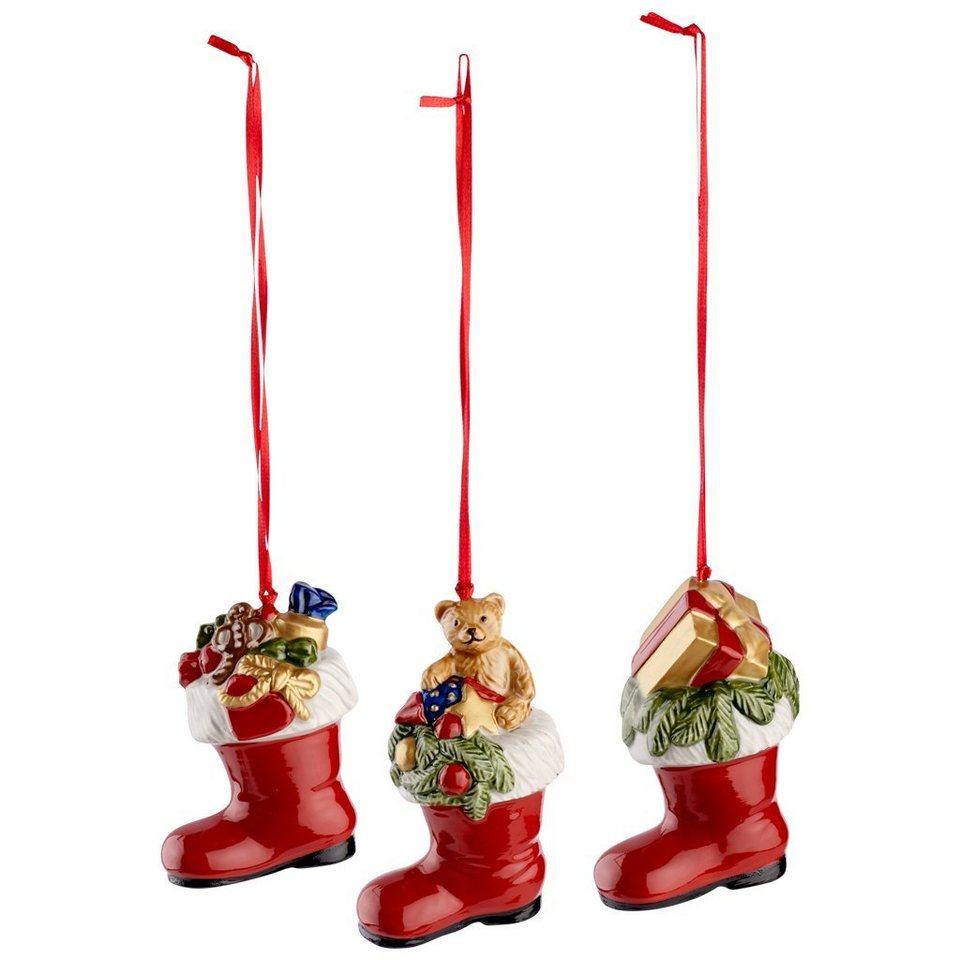 VILLEROY & BOCH Ornamente Stiefel, Set 3tlg. 8cm »Nostalgic Ornaments« in Dekoriert