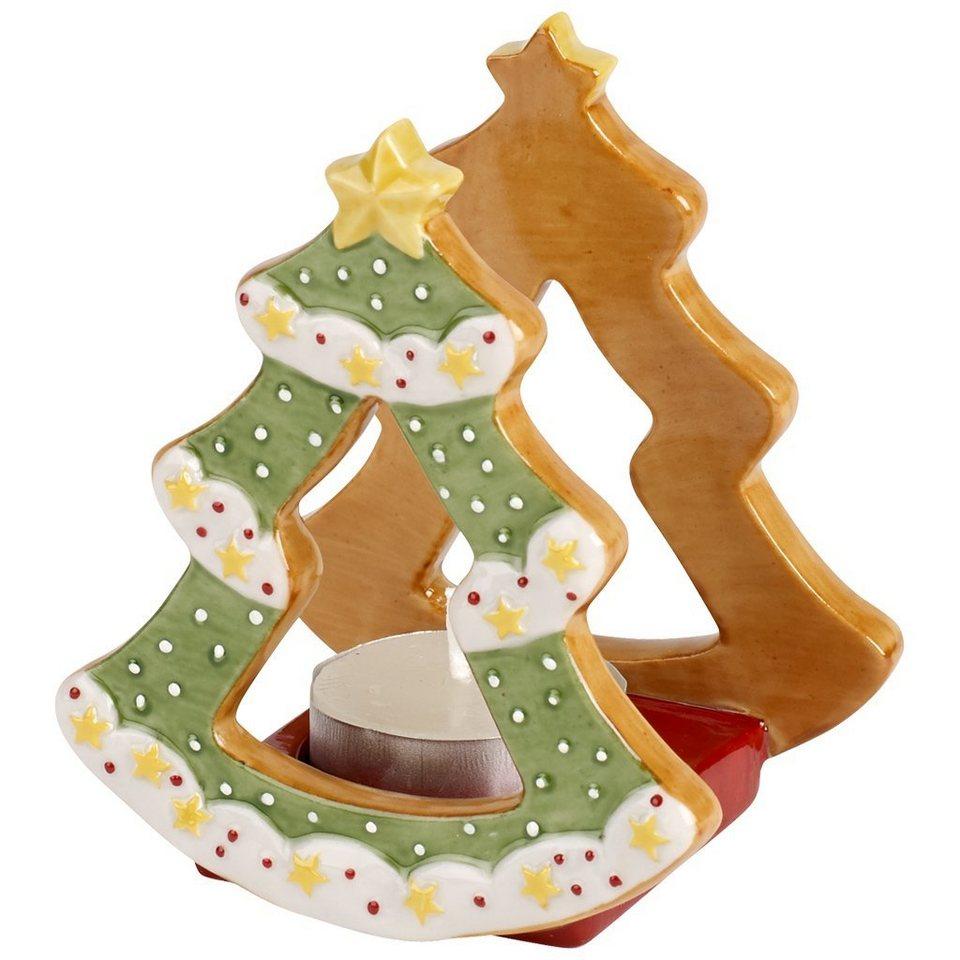 VILLEROY & BOCH Teelichthalter Tannenbaum 8x7x9cm »Winter Bakery Decoration« in Dekoriert