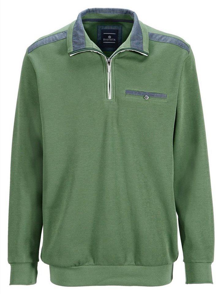 Babista Sweatshirt mit Webbesatz in hellgrün