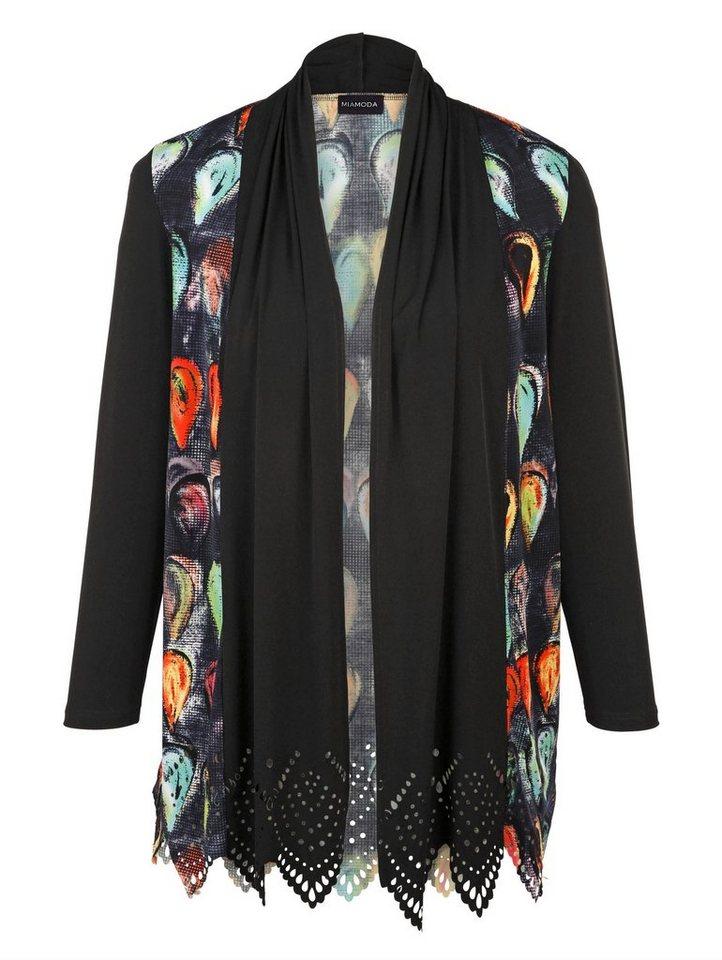 MIAMODA Jacke in weichfallender Shirtqualität in schwarz/ marine bedruckt