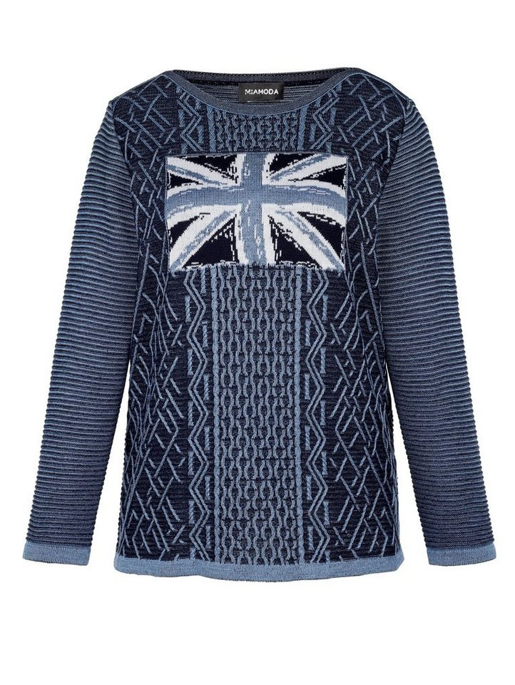 MIAMODA Pullover mit modischem Strickdesign in blau