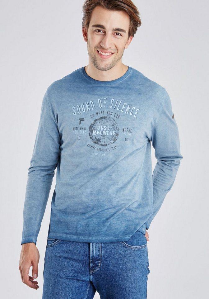 PIONEER langarm Shirt in hellblau