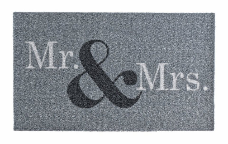 Fußmatte, Zala Living, »Mr & Mrs«, getuftet in grau