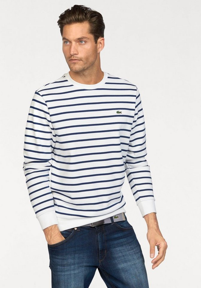 Lacoste Sweatshirt in weiß-blau-gestreift