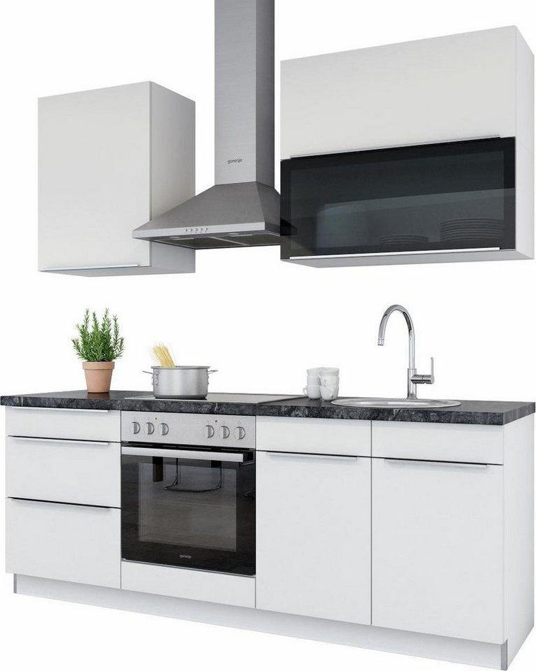 set one by Musterring Küchenzeile »Palermo« ohne E-Geräte, Breite 210 cm in weiß