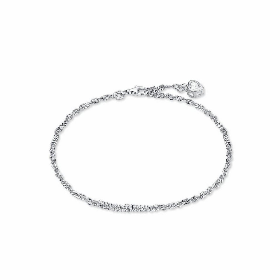 Amor Fußkette mit Anhänger »Herz, J43/6 311274« mit Zirkonia in Silber 925