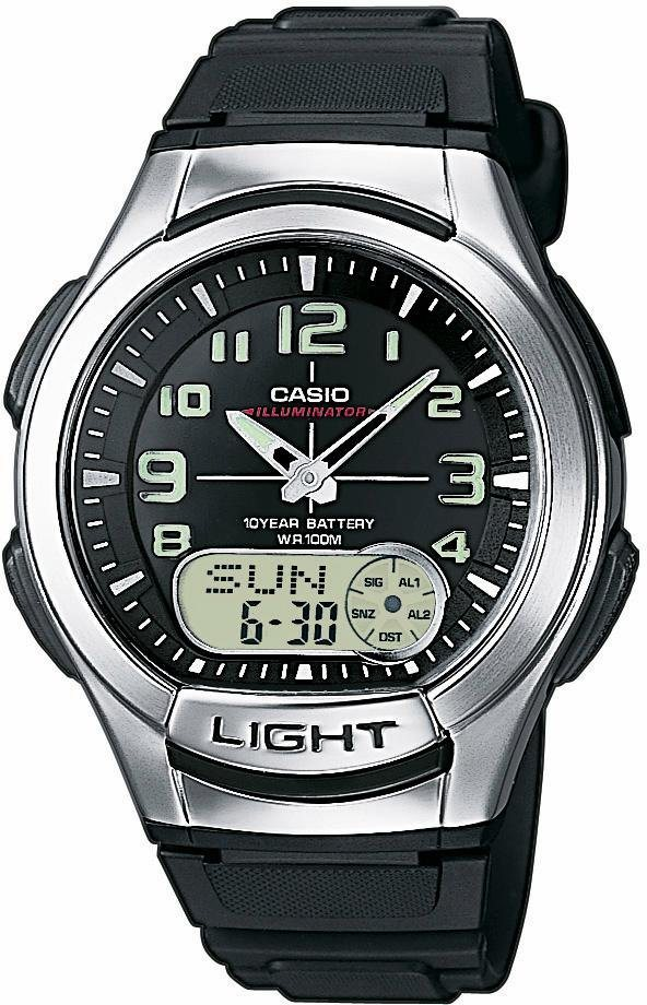 Casio Collection Chronograph »AQ-180W-1BVES« mit NEO-Display in schwarz