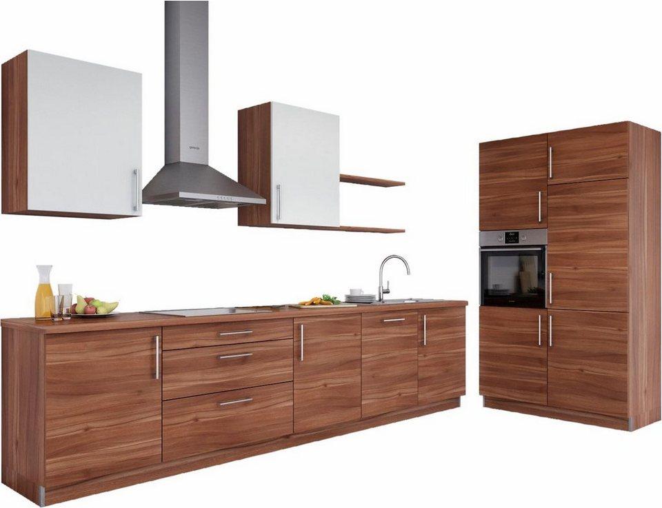 set one by Musterring Küchenzeile »Navaro« ohne E-Geräte, Breite 330 cm in Dijon Nussbaum