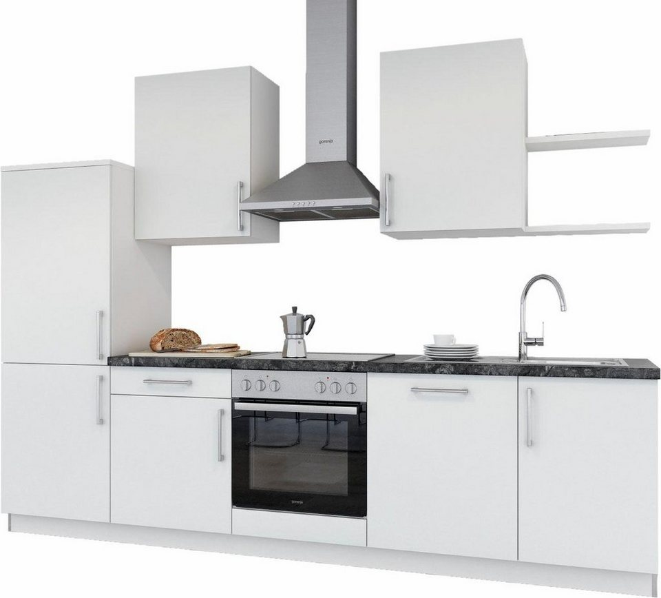 set one by Musterring Küchenzeile »Turin« ohne E-Geräte, Breite 290 cm in weiß