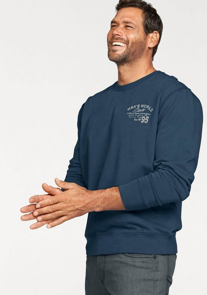 Man's World Sweatshirt mit Brustprint in jeansblau