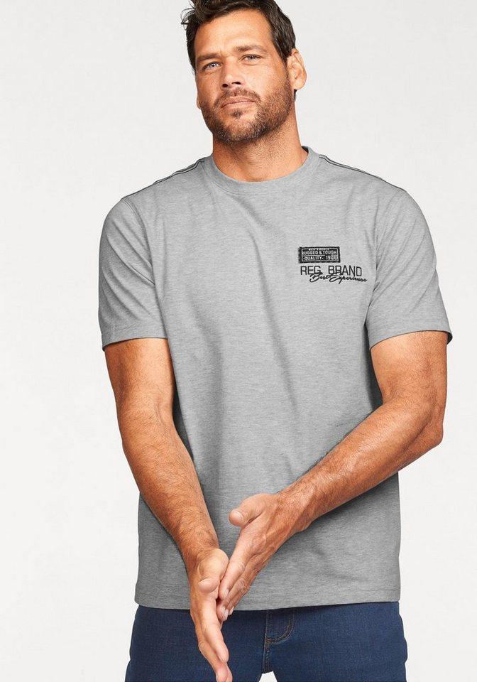 Man's World T-Shirt mit Rückenprint in grau-meliert