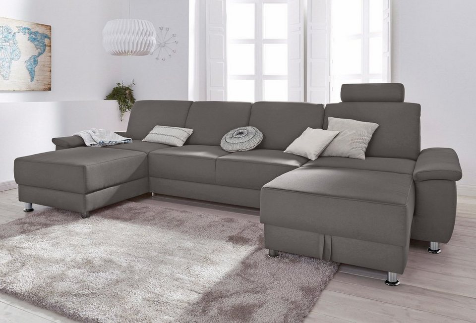 wohnlandschaft mit einer kopfst tze wahlweise mit relaxfunktion online kaufen otto. Black Bedroom Furniture Sets. Home Design Ideas