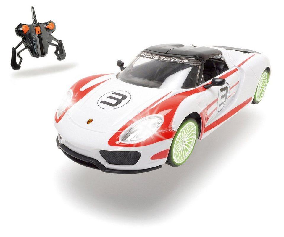 Dickie RC Komplett Set mit Licht und Sound, »Porsche Spyder 2,4 GHz 1:16 weiß/rot« in weiß