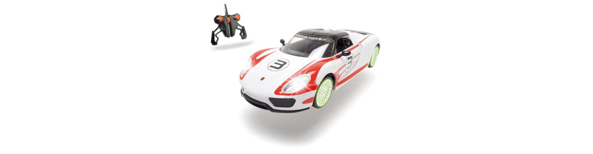 Dickie RC Komplett Set mit Licht und Sound, »Porsche Spyder 2,4 GHz 1:16 weiß/rot«