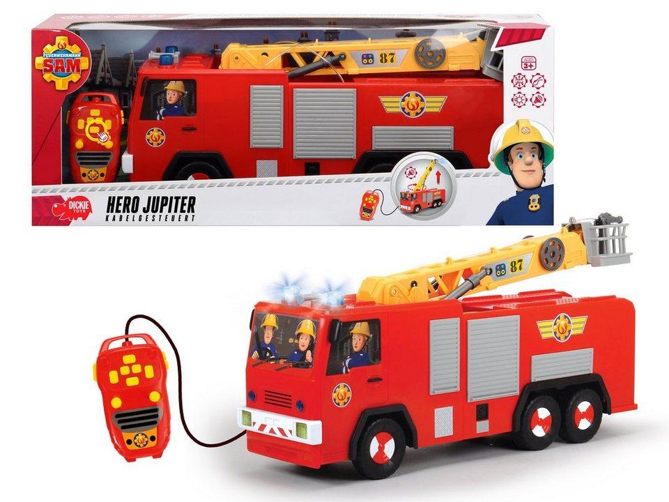 Dickie Toys Kabelgesteuertes Feuerwehrauto mit Wasserspritze, »Feuerwehrmann Sam, Hero Jupiter« in rot