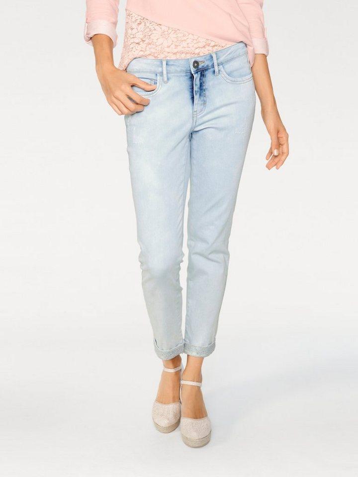 LINEA TESINI by Heine Boyfriend-Jeans mit Spitze in blue denim
