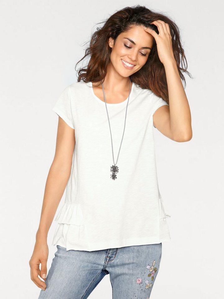 Damen heine  CASUAL Rundhalsshirt mit Schößchen weiß | 08698304695972