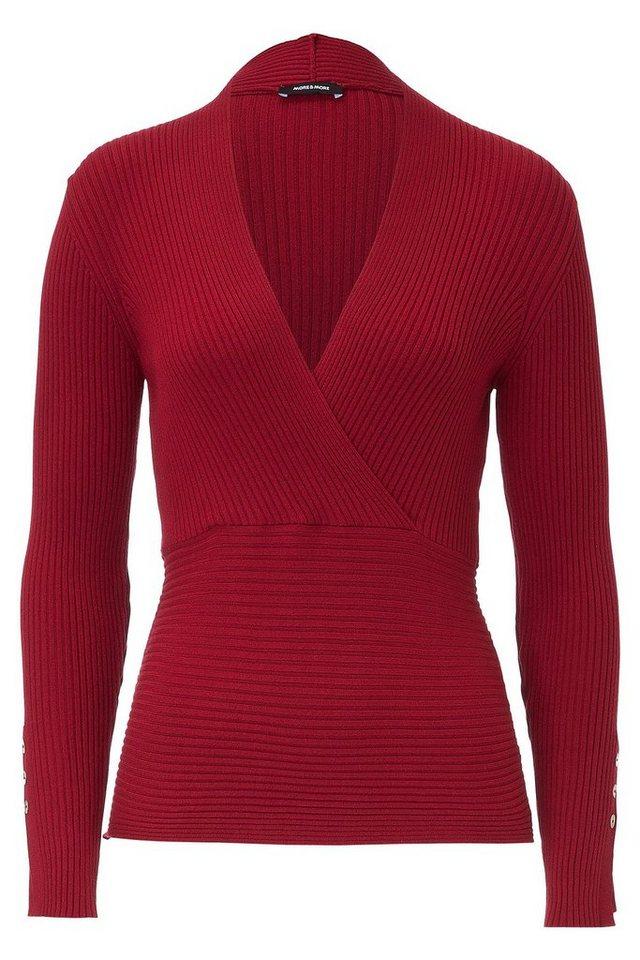 MORE&MORE Rippen-Pullover, Wickeloptik in rot