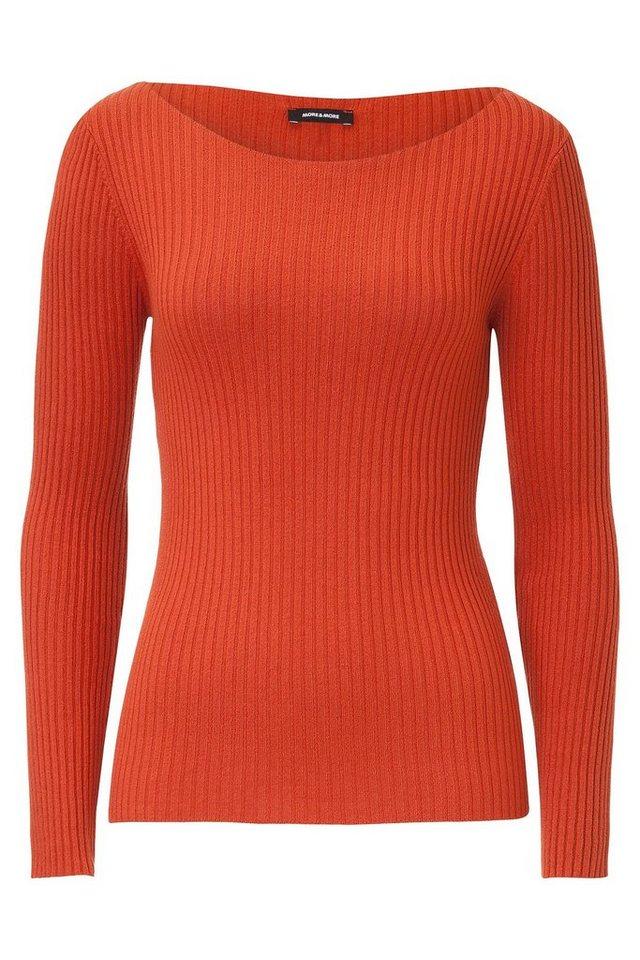 MORE&MORE Rippen-Pullover, ecru in orange