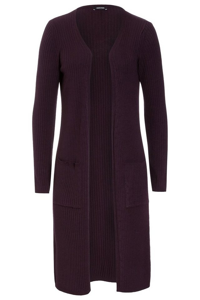 MORE&MORE Rippen-Cardigan, bordeaux in lila