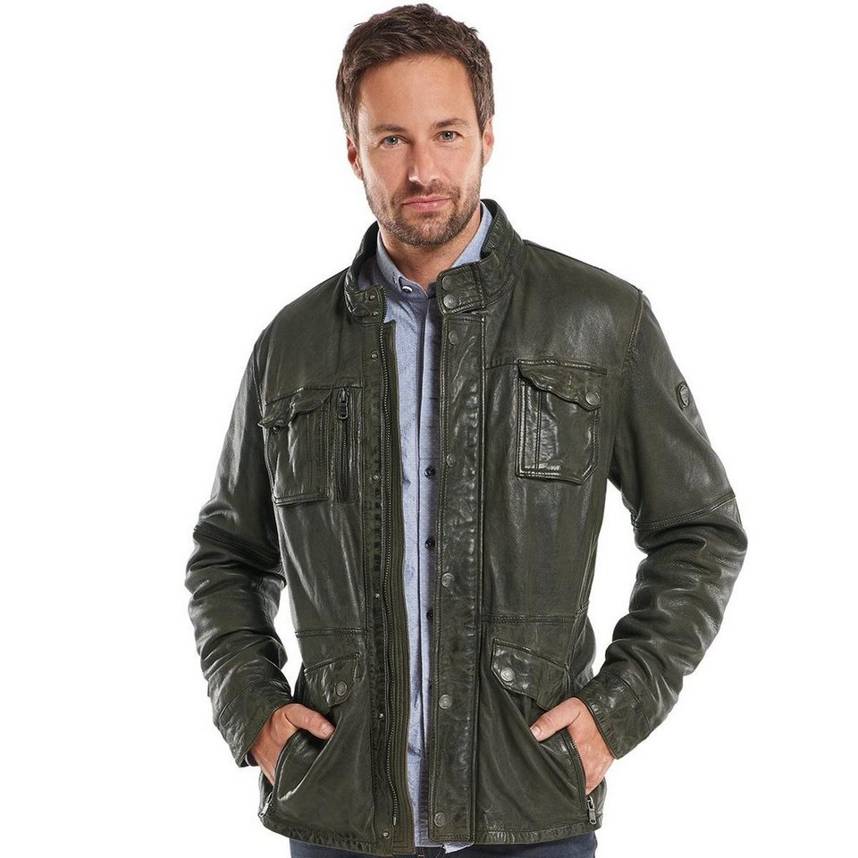 engbers Leder-Fieldjacket in Anthrazit