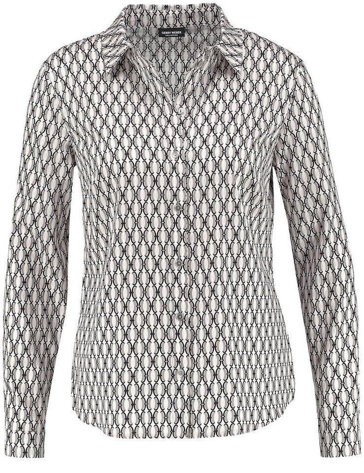 Gerry Weber Bluse Langarm »Bluse mit grafischem Muster« in Weiß-Rose-Taupe