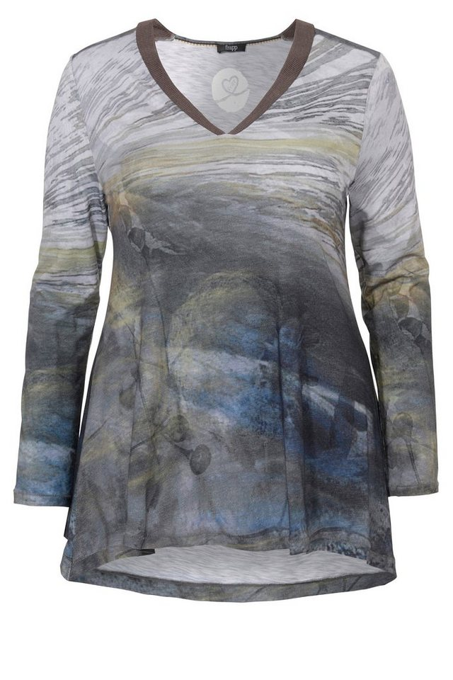 FRAPP Fließendes Longshirt in A-Form in WOOD MULTICOLOR