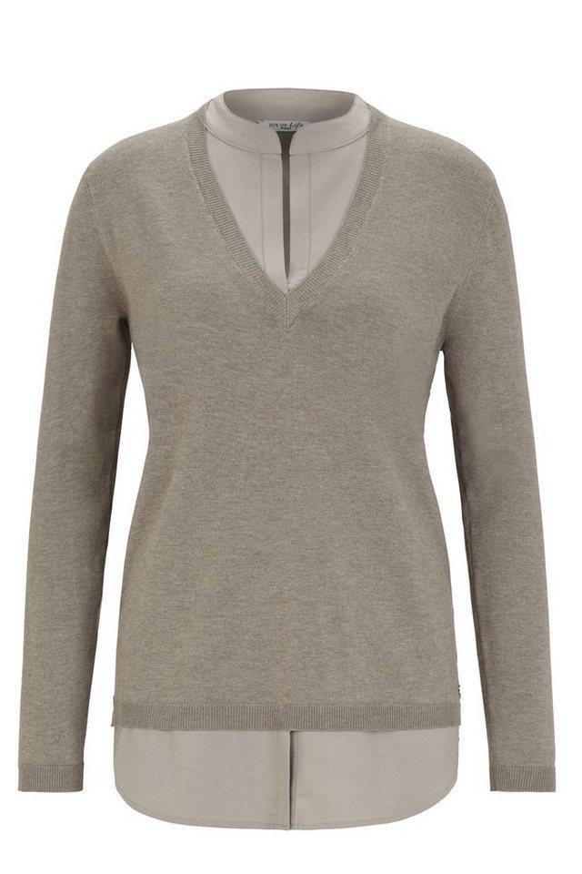 Hajo Pullover V-Ausschnitt mit Bluseneinsatz in taupemelange