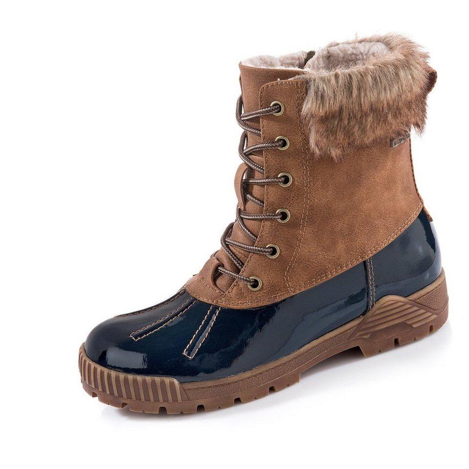 Tamaris Cactus TEX-Boots in cognac/blau