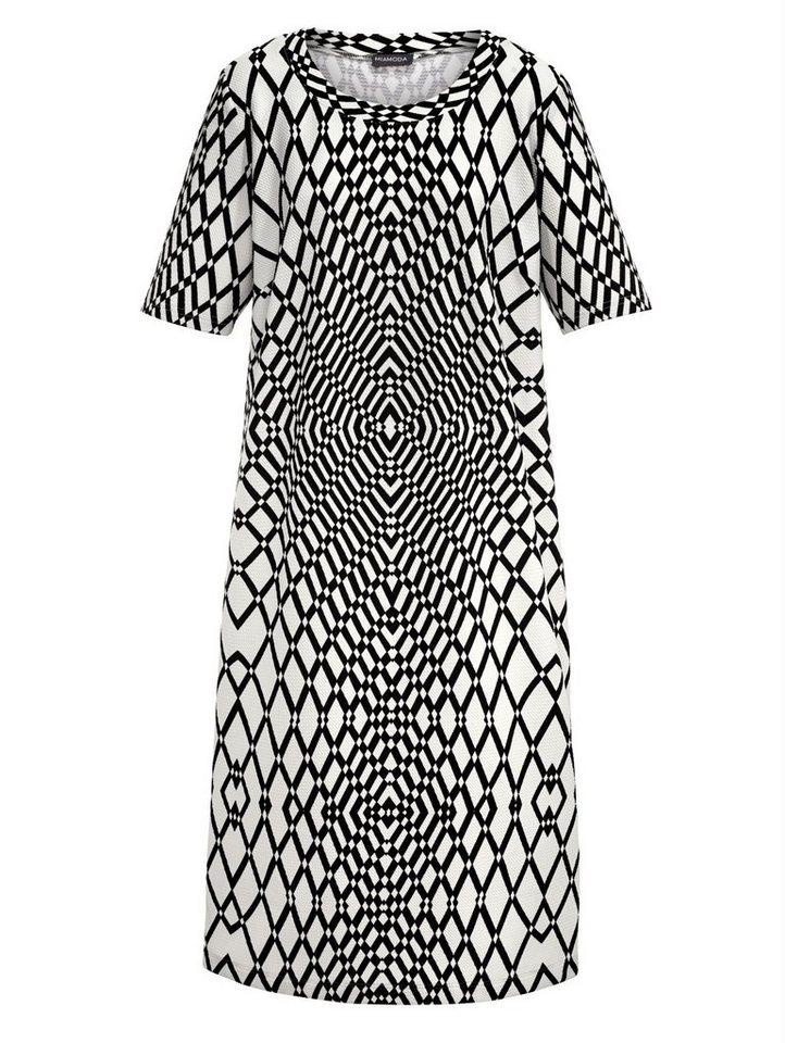 MIAMODA Kleid mit grafischem Druck in schwarz/weiß