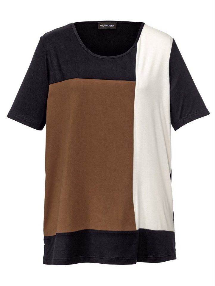 MIAMODA Shirt mit modischem Colour-Blocking in nougat/creme/schwarz