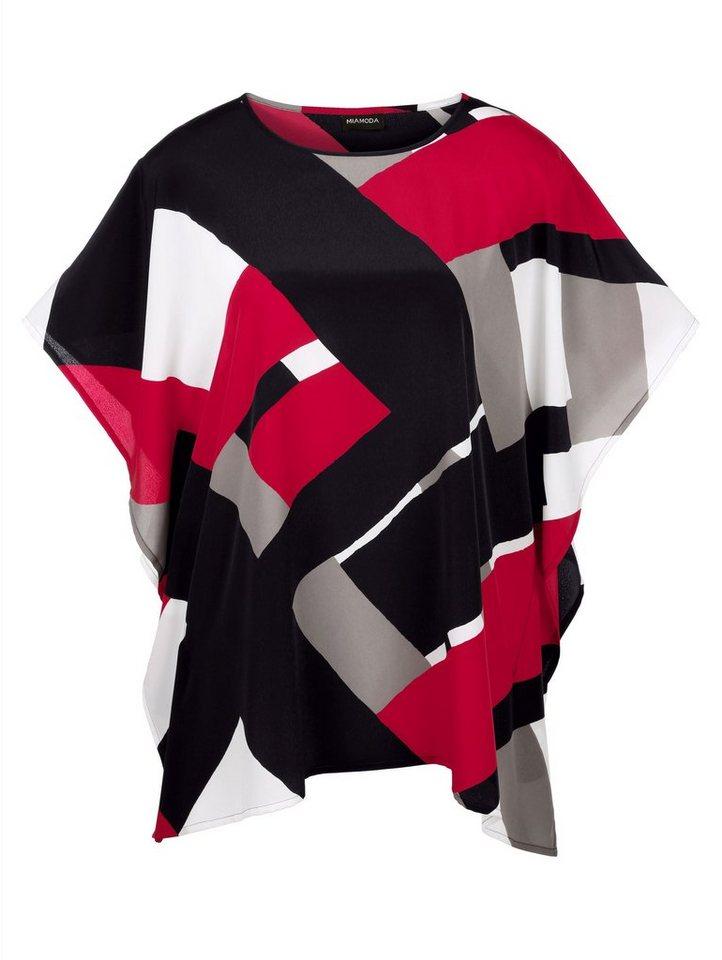 MIAMODA Kaftan mit grafischem Druckmuster in rot/schwarz/weiß
