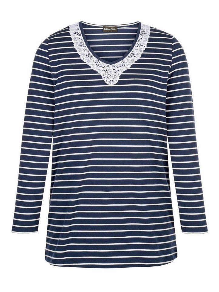 MIAMODA Shirt in navy/white