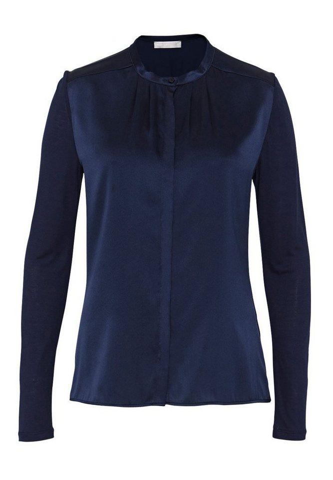 HALLHUBER Seidenbluse mit Jersey in tintenblau
