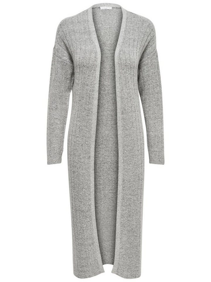 Only Langer Strick-Cardigan in Light Grey Melange