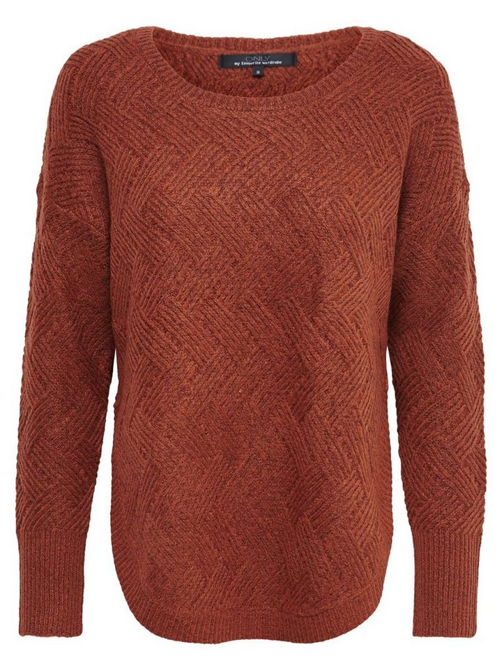 Only Lässiger Strickpullover in Arabian Spice