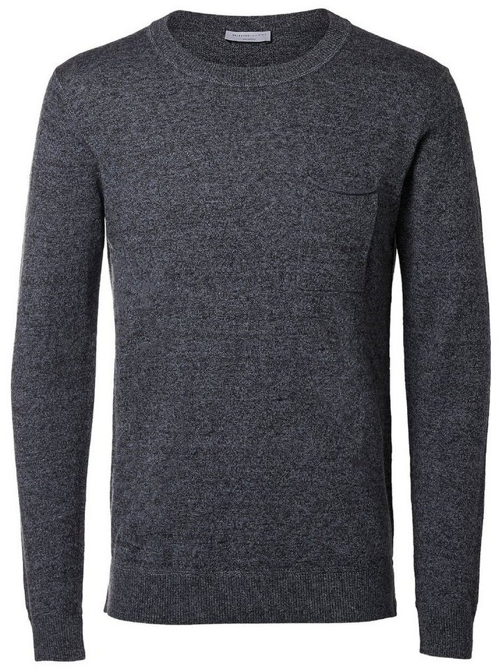 Selected Klassischer Strickpullover in Flint Stone