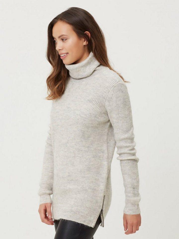 Vero Moda Rollkragen- Strickpullover in Light Grey Melange