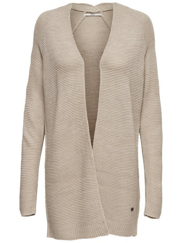 Only Langer Strick-Cardigan in Oatmeal