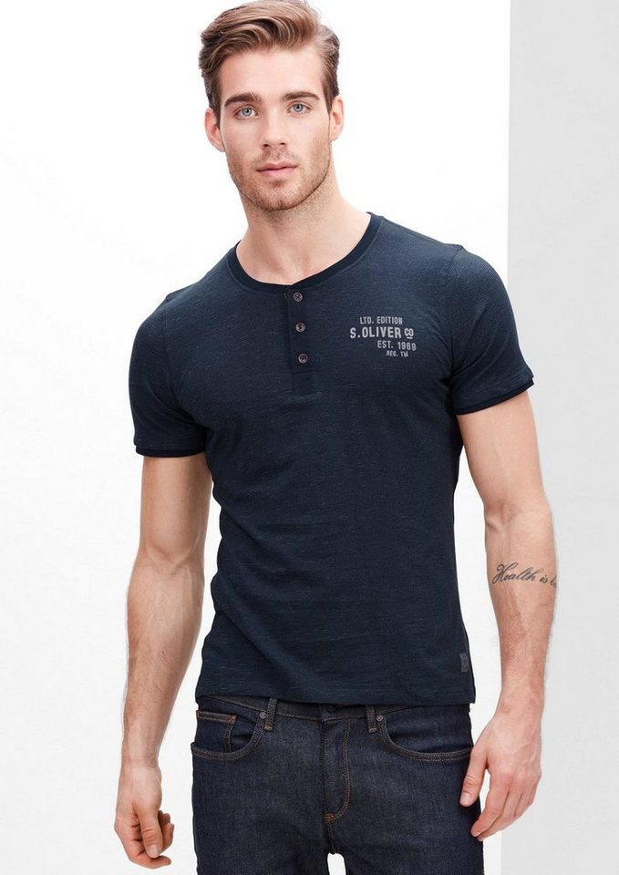 s.Oliver RED LABEL T-Shirt mit Flammgarn-Streifen in deep sea