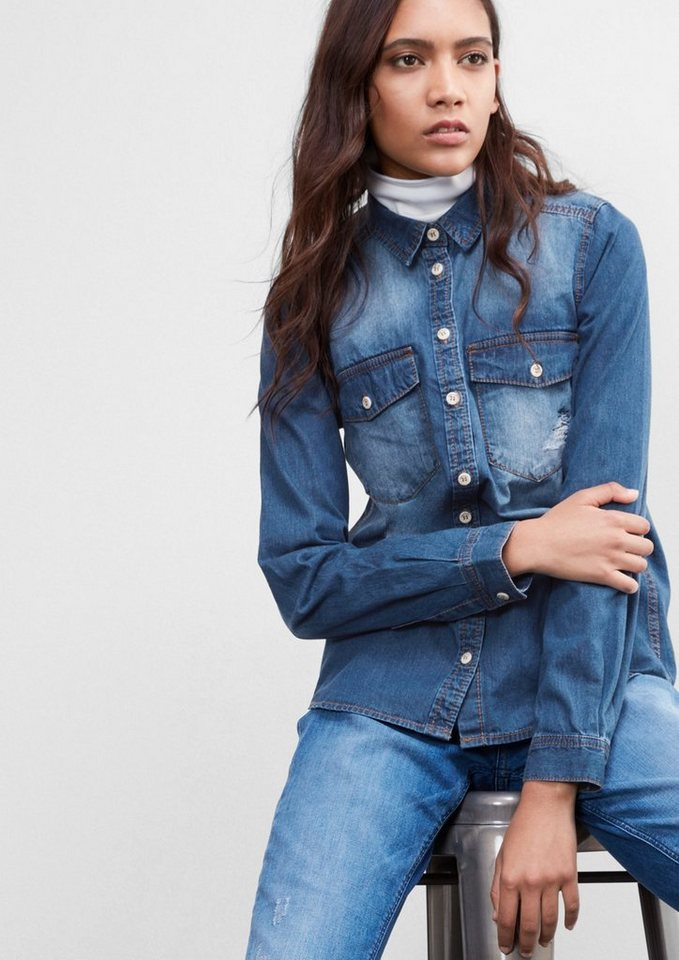 Q/S designed by Jeansbluse im Used-Look in blue denim, heavy st