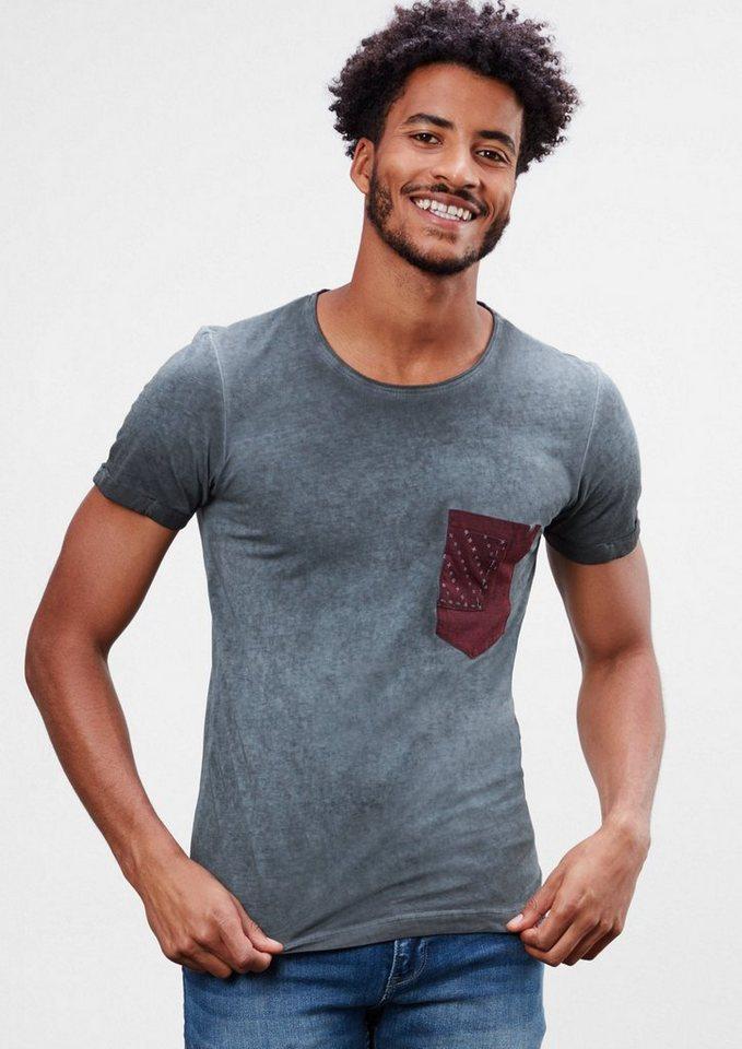 Q/S designed by Garment Dye-Shirt in Slim Fit in black