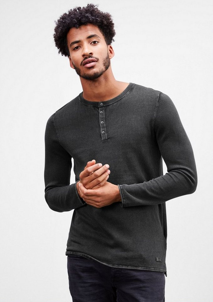 Q/S designed by Leichter Washed-out-Pullover in black