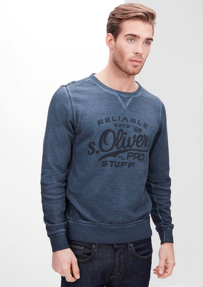 s.Oliver RED LABEL Sweatshirt in Cold Pigment Dye in deep sea