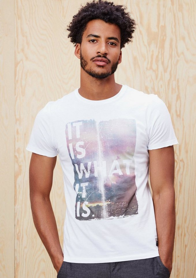 s.Oliver RED LABEL T-Shirt mit Frontprint in white