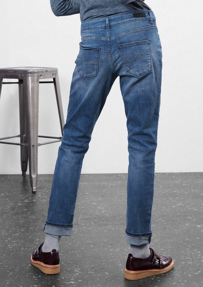 Q/S designed by Boyfriend: Used Stretch-Jeans in blue denim, heavy st