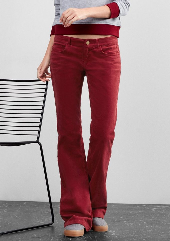 Q/S designed by Bootcut: Flared Leg-Cordhose in ruby