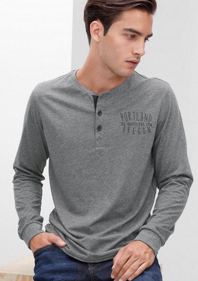 s.Oliver RED LABEL Henley-Shirt aus Melange-Jersey in blend grey