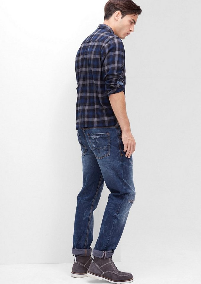 s.Oliver RED LABEL Close Slim: Destroyed Jeans in blue denim non stret