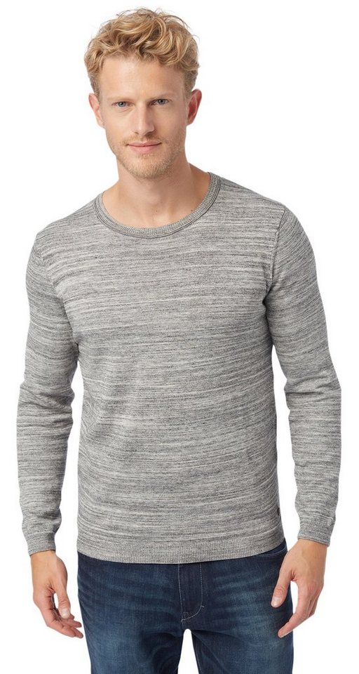 TOM TAILOR Pullover »modern crew-neck sweater« in knit white